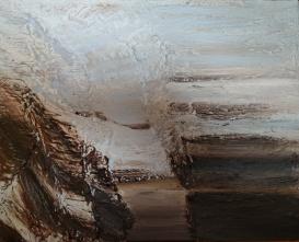 "78°N, 16""x20"" acrylic and texture on canvas"