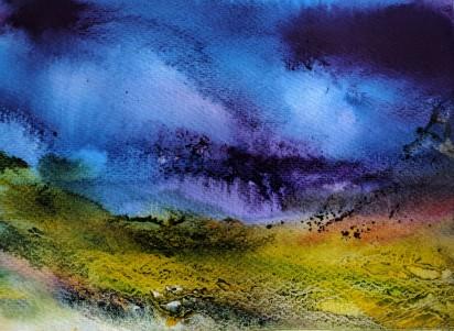 "Cairngorm Glen, 16"" x 12"" (mounted) watercolour on paper"