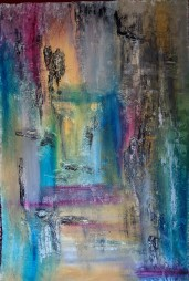 "SOLD Vantage Point, 41""x28"" acrylic and texture on Khadi handmade paper"