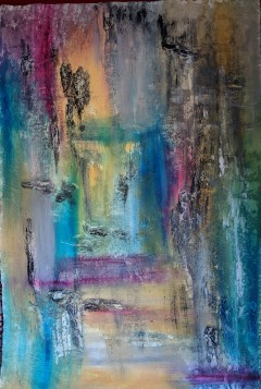 """SOLD Vantage Point, 41""""x28"""" acrylic and texture on Khadi handmade paper"""
