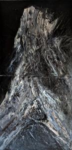 "Petrified, 32""x16"" diptypch, acrylic and texture on canvas"