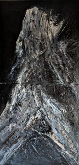 "Petrified, 32""x16"" diptypch, acrylic and texture on canvas"