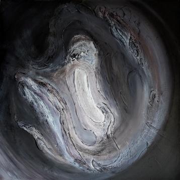 """False Positive, 32""""x32"""" acrylic and texture on canvas"""
