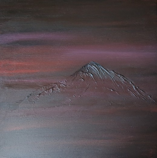 "The Mountain, 20""x20"" acrylic and texture on canvas"
