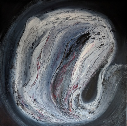 """Geotic, 32""""x32"""" acrylic and texture on canvas"""
