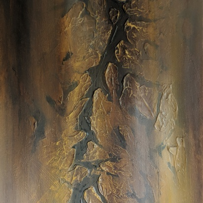 "Parched, 40""x20"" acrylic and texture on canvas"