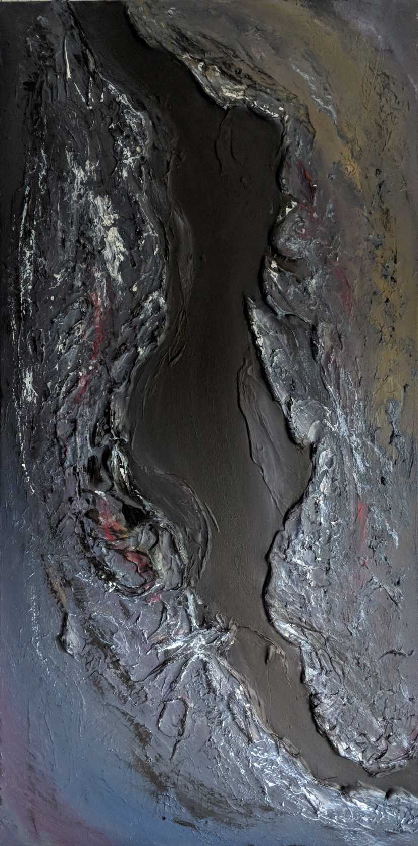 """SOLD Tectonic, 40""""x20"""" acrylic and texture on canvas"""