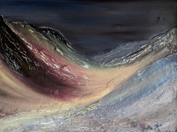 "Lairig Ghru, 24""x32"" acrylic and texture on canvas"