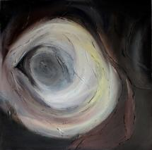"Eyece, 32""x32"" acrylic and texture on canvas"