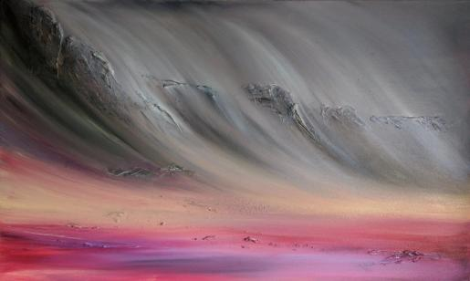 """Eskdale, 40""""x24"""" acrylic and texture on canvas"""