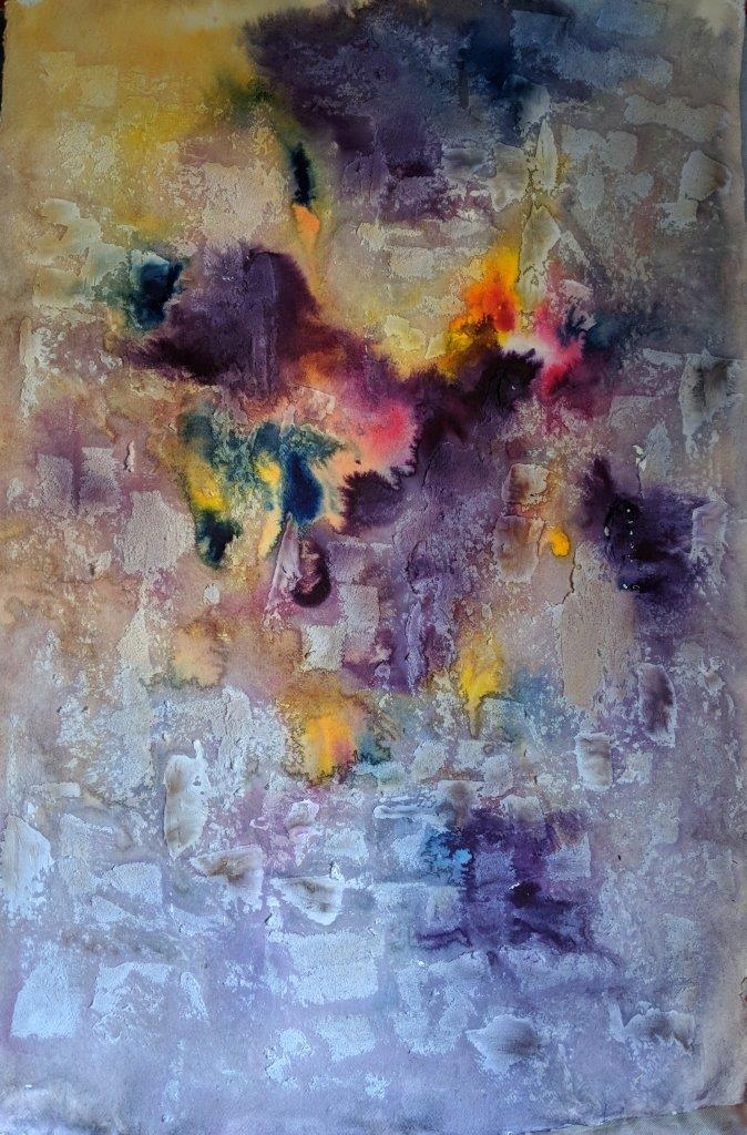 "Metamorphosis, 28""x41"" watercolour and texture on paper (unmounted)"