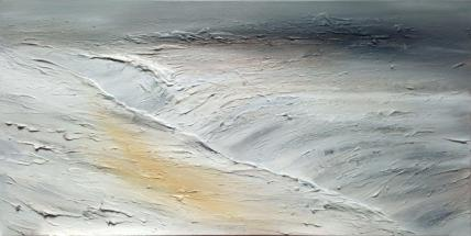 "Glacialis, 48""x24"", acrylic and texture on canvas"